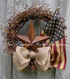 Americana Wreath, Patriotic Wreath, Fourth of July, Memorial Day, Military, Rusty Stars, Summer Wreath, Tea Stained Flag