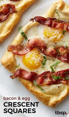 Bacon and Egg Crescent Squares Breakfast doesn't get much better than flaky, buttery crescents filled with eggs, bacon and topped with fresh Parmesan cheese. It's worth getting out of bed for, we promise. Breakfast Dishes, Breakfast Time, Best Breakfast, Breakfast Casserole, Breakfast Ideas With Eggs, Gourmet Breakfast, Bacon Breakfast, Mexican Breakfast, Breakfast Pizza Recipe With Crescent Rolls