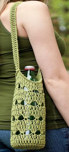 Crocheted Water Bottle Holder The free pattern is HERE. Once you get to the site click the little white arrow up in the top right-hand corner to get the pattern.