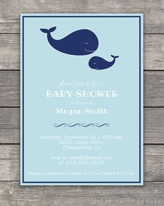 """Whale Baby Shower Invitation """"Mommy and Baby Whale"""""""