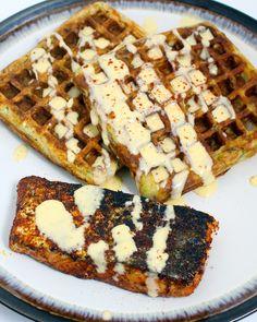 Cajun Salmon, Courgette Waffles & Blender Hollandaise