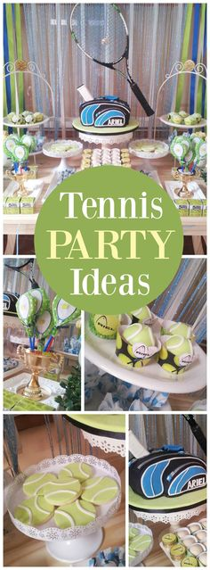 How cool is this tennis themed birthday party? See more party ideas at CatchMyParty.com!