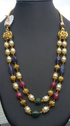 manjula jewels bead necklace in gold Gold Earrings Designs, Gold Jewellery Design, Bead Jewellery, Necklace Designs, Beaded Jewelry, Jewelry Necklaces, Beaded Necklace, Handmade Jewellery, Jewellery Shops
