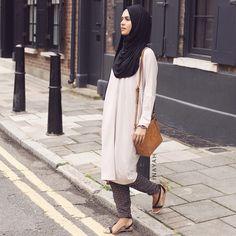 Stone Cocoon Midi Dress + Mesh Print Crossover Trousers + Black Maxi Jersey Hijab | INAYAH www.inayahcollection.com  #inayah#hijabfashion#modestfashion