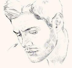 Sketch by Alex-Soler on DeviantArt Supernatural Drawings, Supernatural Fan Art, Supernatural Beings, Cool Art Drawings, Realistic Drawings, Drawing Sketches, Sketching, Fanart, Jensen Ackles