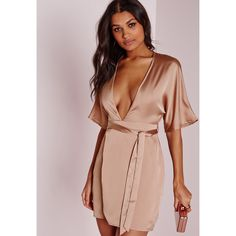 Missguided Silky Kimono Wrap Dress Dusky ($40) ❤ liked on Polyvore featuring…