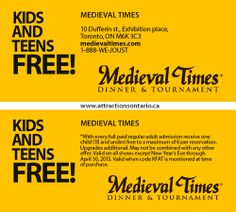 ATTRACTIONS ONTARIO - Kids & Teens Free!. Steve Pacheco Real Estate. More coupons: bit.ly/1hupagH Ontario Attractions, Medieval Times Dinner, Coupons, Toronto, Teen, Real Estate, Kids, Real Estates, Children