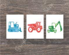 Set of Truck print by GrapevineDesignShop on Etsy Bedroom Prints, Nursery Prints, Digital Wall, Kids Prints, Own Home, Kids Bedroom, Playroom, Bedrooms, Truck