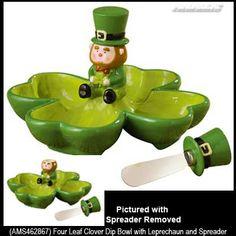 Four Leaf Clover Dip Bowl with Leprechaun Spreader set