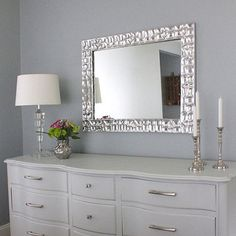 Knock-off metallic mirror frame - for super shiny metallic finish try Krylon 1010A Premium Metallic Original Chrome Spray Paint