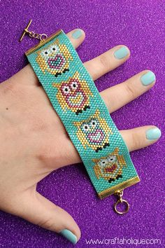 *CUTE OWL PATTERN FOR BEAUTIFUL PEYOTE STITCH CUFF BRACELET PROJECT* In the mood for a little beadweaving? Make this super cute owl bracelet with my flat odd count peyote PDF pattern! ****THIS BRACELET IS MADE WITH MIYUKI DELICAS SIZE 10/0.**** A fun beading project for bead