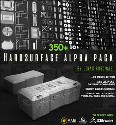 More than 350 Hardsurface alpha textures in this set. A lot of time and effort went into this project, taking more than 150 hours to complete! Inspired by iconic designs, created for the people that want to speed up their hardsurface object creation Alpha Pack, Hard Surface Modeling, Zbrush Tutorial, Blender Tutorial, Modeling Tips, 3d Texture, Test Card, Unreal Engine, Game Concept
