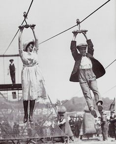 It's better to be absolutely ridiculous than absolutely boring! A zipline date, c. 1920s.