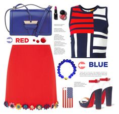 """""""Red, White & Blue: Celebrate the 4th!"""" by samra-bv ❤ liked on Polyvore featuring Mary Katrantzou, Tommy Hilfiger, Christian Louboutin, Loewe, Topshop, fourthofjuly, contestentry, polyvoreset and shopjewelry"""