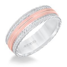 Brides: ArtCarved. See more details about this ring at ArtCarvedBridal.com Men's wedding band with satin finish and milgrain edge. Rope treatment on top and the sides with flat profile. Available in platinum, 18k white or yellow gold, 14k white or yellow gold or palladium.