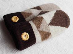 sweater mittens, brown geometric pattern by miraclemittens on Etsy
