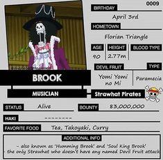 One Piece fun facts: Brook One Piece Fr, Brooks One Piece, Anime One, One Piece Anime, One Peace, At Least, Zoro Nami, Straw Hats, Dragon Ball