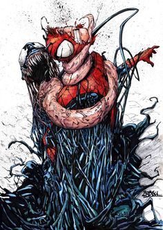Spider-man vs Venom by Babisu Kourtis Comic Book Characters, Marvel Characters, Comic Books Art, Comic Art, Marvel Venom, Marvel Dc Comics, Marvel Heroes, Venom Comics, Spiderman Art