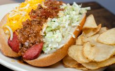 Chili Cheese - 10oz split, fried hot dawg smothered in our washtub chili, mixed cheeses and slaw ...