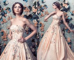 Pale apricot satin wedding ball gown embellished with applique and embroidery over the bodice and halfway down the skirt Jessica Sim 09151