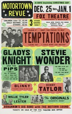 Motown Revue with The Temptations, Gladys Knight, & Stevie Wonder Rock Posters, Band Posters, Music Posters, Theatre Posters, Event Posters, Rhythm And Blues, Blues Music, Jazz, Kinds Of Music