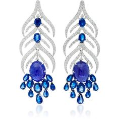 Sutra Tanzanite Feather Earrings ($15,250) ❤ liked on Polyvore featuring jewelry, earrings, navy, navy jewelry, tanzanite earrings, tanzanite jewellery, navy blue earrings and earring jewelry