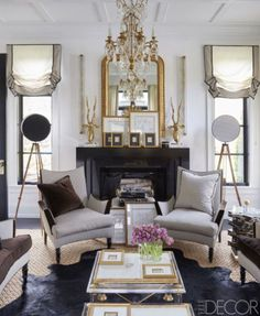 Beautiful Relaxed European Roman Shades with a Rogers and Goffigon stripe ia Elle Decor