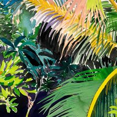 Palms - Original Watercolor Painting by Alexandra Karamallis Watercolor Paintings, Original Paintings, Female Painters, Bachelor Of Fine Arts, Organic Matter, Natural Wonders, Gouache, Custom Framing, Plant Leaves