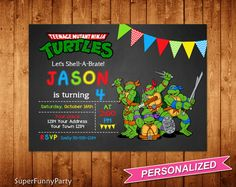 Ninja Turtles Invitation. Personalized with your party details! Please, when buying, choose quantity at 1 and size 4x6 or 5x7 and pay using PayPal. This is a Digital Product, no physical item will be shipped to you! File is high resolution 300 dpi JPG or PDF format, ready to print.