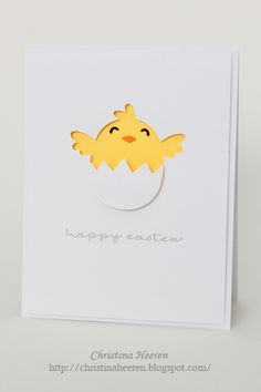 Adorable chick-in-egg handmade Easter Card!