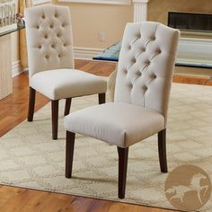 Set Of 6 Elegant Linen Upholstered Parsons Dining Chairs With Tufted Backrest
