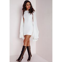 Missguided Crepe Flared Sleeve Bodycon Dress White ($34) ❤ liked on Polyvore featuring dresses, ivory, white sleeve dress, body con dress, dressy dresses, bell sleeve dress and long ivory dress