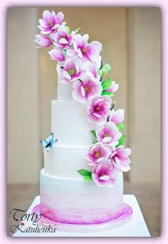 Spring Wedding Cake by Cakes by Katulienka - http://cakesdecor.com/cakes/304744-spring-wedding-cake #weddingcakes