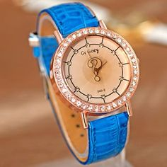 Elegant Dial Analog Watch with Leather Strap and Diamond Inlayed: USD $10.15