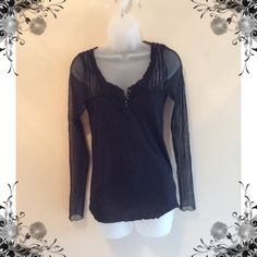 Pretty black sweater Sheer sleeves very nice. Reposhing as it does not fit me.  Very light weight. Can be worn any time of year. Sweaters Crew & Scoop Necks