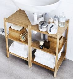 10 Ways to Squeeze a Little Extra Storage Out of a Small Bathroom frome here RÅGRUND Sink shelf/corner shelf IKEA Interior, Small Bathroom Storage, Small Bathroom, Pedestal Sink Storage, Sink Shelf, Tiny Bathroom, Bathroom Decor, Bathroom Inspiration, Corner Shelf Ikea