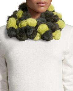 use fake fur Rabbit+Fur+Pompom+Infinity+Scarf,+Olive/Chartreuse+by+Neiman+Marcus+at+Neiman+Marcus+Last+Call.