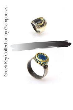 greek key ring #enamelring Titanium Jewelry, Greek Key, Small Business Marketing, Key Rings, Class Ring, Promotion, Fashion Accessories, Eye, Group