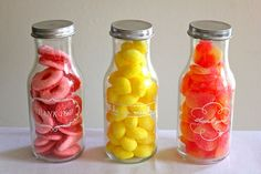 Repurpose old bottles and use as thank you gifts. candy favors by youaremyfave, via Flickr