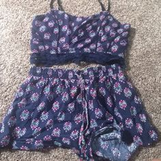 Millau two piece set Both size small, straps are adjustable the top is stretchy to fit most bra sizes, shorts have pockets and top has lace layer so cute! LF Tops
