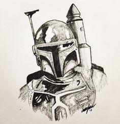 Star Wars Boba Fett fan art pencil drawing
