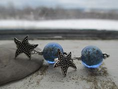 Starfish Post Earrings with Venetian Glass Gold by nowthatsitalian, $42.00