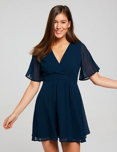 Image for Lana Butterfly Sleeve Skater Dress from Dotti Dotti Dresses, Simple Dresses, Casual Dresses, College Outfits, Get Dressed, Skater Dress, Wrap Dress, Party Dress, Trending Outfits