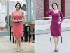 Приталенное платье с короткими и длинными рукавами
