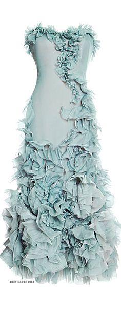 Marchesa Strapless Chiffon-Tea Length Dress ♔ Resort 2015