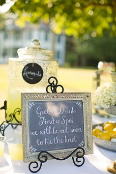 """""""Grab a drink & find a spot, we will be out soon to tie the knot!"""" How cute is this #chalkboard #sign {J&J Photography}"""