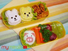 Twin bunny and Piggy bento by mymealbox, via Flickr