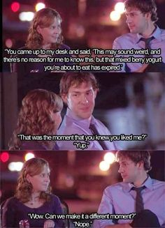 OF MY FAVORITE JIM AND PAM MOMENTS These are some of my favorites moments between Jim and Pam. To all The Office fans I hope you enjoy.These are some of my favorites moments between Jim and Pam. To all The Office fans I hope you enjoy. Tv Quotes, Movie Quotes, Funny Quotes, Funny Memes, Work Quotes, Memes Humor, Funny Pics, Funny Pictures, Tori Tori