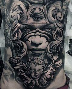 Cool Full Back Grey Tattoo Of Eyes For Men
