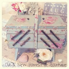 Vintage sewing box decoupaged with napkins.....